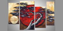 Červené slnko, maľovaný obraz ručne