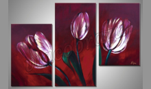 Červený tulipán, obraz  je ručne maľovaný