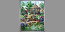Altánok pri jazierku, ručne maľovaný obraz