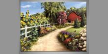 Cesta na farmu, ručne maľovaný obraz