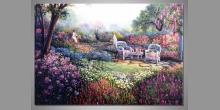 Maľovaný obraz ručne, Dievčatá v záhrade