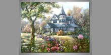 Dom pri lese, obraz ručne maľovaný