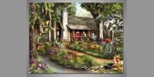 Dom starej mamy, obraz ručne maľovaný