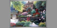 Maľovaný obraz ručne, Dom pri rieke