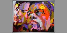 Dvaja muži, obraz maľovaný ručne