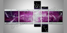 5-Dielný fialový obraz, maľovaný obraz ručne