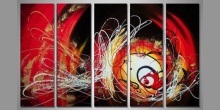 Abstrakt 5.Dielny  červený, ručne maľovaný obraz