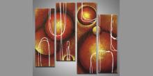 Hnedé kruhy, ručne maľovaný obraz