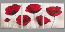 Červené kvety na bielom obraze, ručne maľované