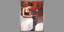 Žena pri stole, umelecky maľovaný obraz