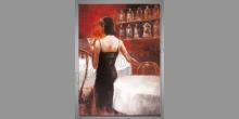 Žena v čiernom, umelecky maľovaný obraz