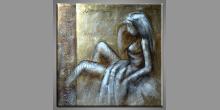Žena, maľovaný obraz ručne