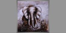 Dark elephant, ručne maľovaný obraz