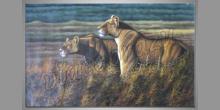 Dva levy, ručne maľovaný obraz
