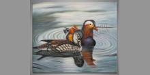 Dve kačky, maľovaný obraz ručne