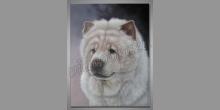 Huňatý psík, maľovaný obraz ručne