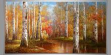 Brezový les, maľovaný obraz ručne