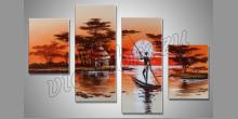 Cez rieku, umelecky maľovaný obraz