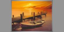 Čln v prístave, ručne maľovaný obraz