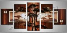 Dva stromy, maľovaný obraz ručne