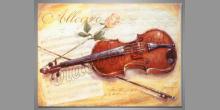 Husle a ruža, ručne maľovaný obraz