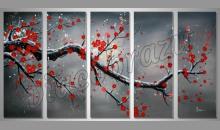 Konár s červenými kvetmi, umelecky maľovaný obraz
