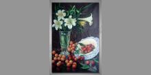 Kvety-zátišie, umelecky maľovaný obraz