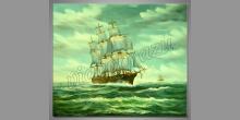 Loď v búrke, ručne maľovaný obraz