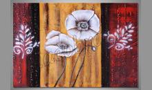 Biele kvety v zlate, obraz  je ručne maľovaný