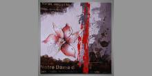 Červený kvet, obraz maľovaný ručne