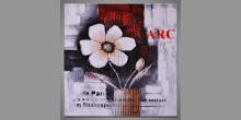 Maľovaný obraz ručne, Dva biele kvety vo váze
