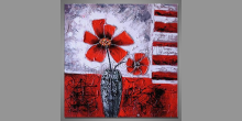 Obraz maľovaný ručne, Kvety vo váze I.