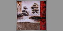 Stromy pri rieke, obraz  je maľovaný ručne