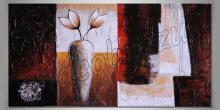 Váza na stole s kvetmi, ručne maľovaný obraz