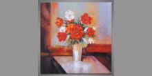 Zátišie-váza plná kvetov, maľovaný obraz ručne