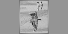 Žena v púšti, digitálne tlačený obraz